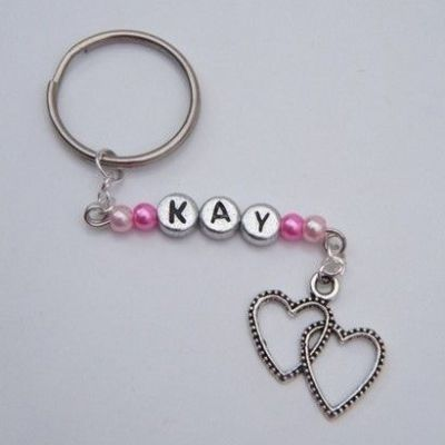 Personalised Double Heart Keyrings